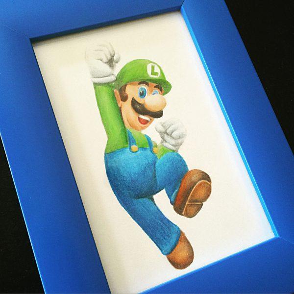 Luigi mit Buntstift malen und rahmen