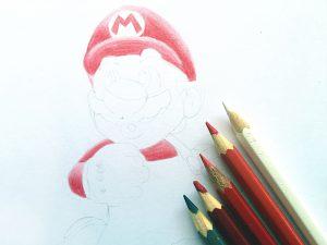 Marios erster Farbauftrag