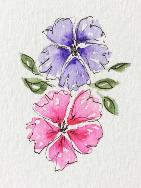Aquarellblumen mit Fineliner-Rand