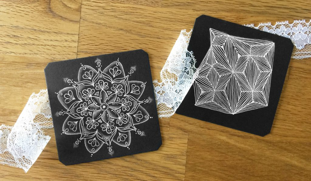 Schwarze Zentangle® Tiles