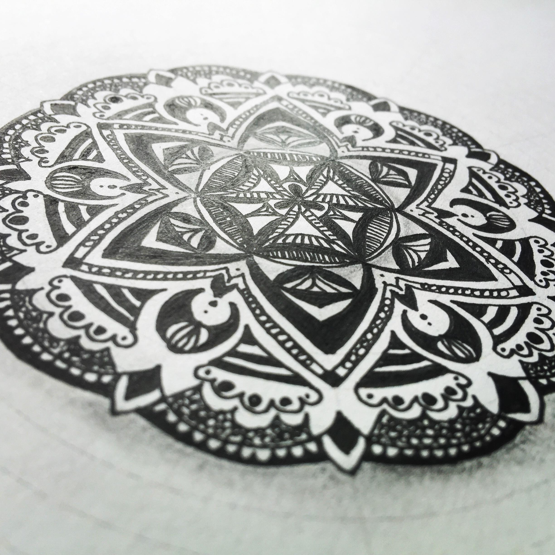 Dieses Zendala ist direkt auf die Druckvorlage gezeichnet