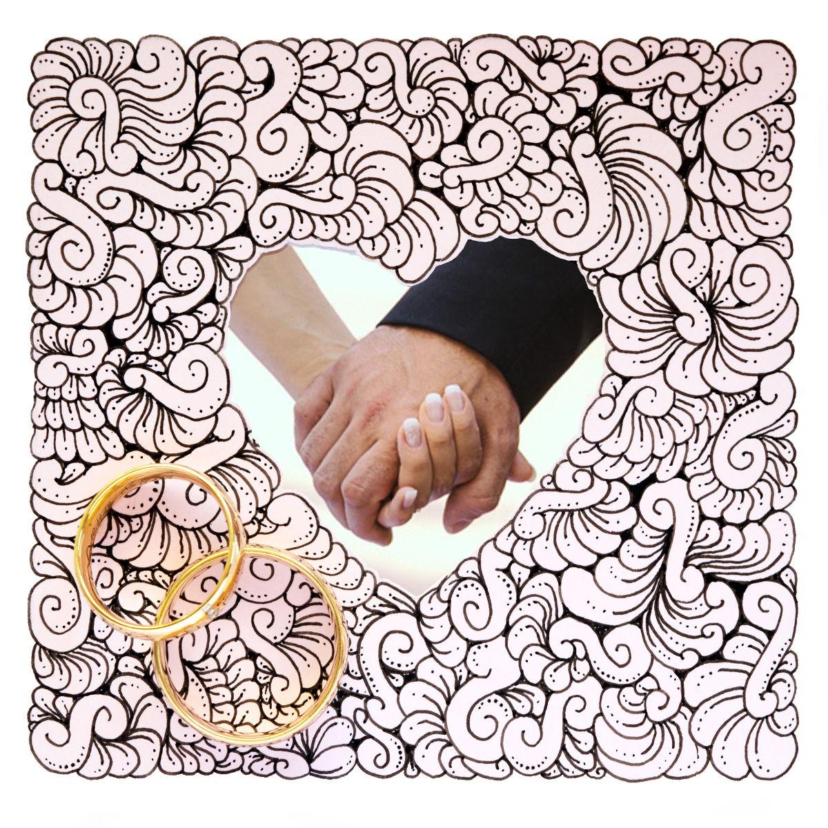 Doodle mit Herz-Ausschnitt zum Hochzeitstag