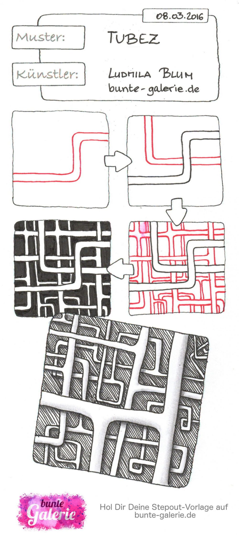 Stepout für Zentangle Muster Tubez