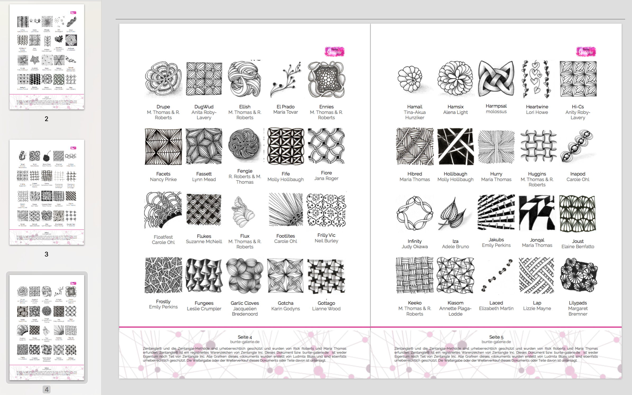 PDF mit 180 Zentangle Mustern
