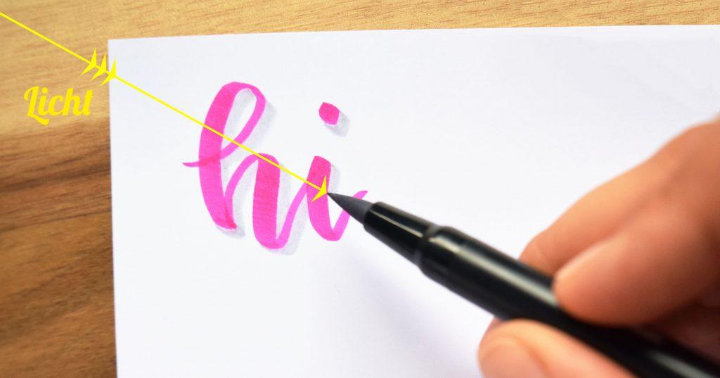 Der Stift zeigt in Richtung der Stiftquelle
