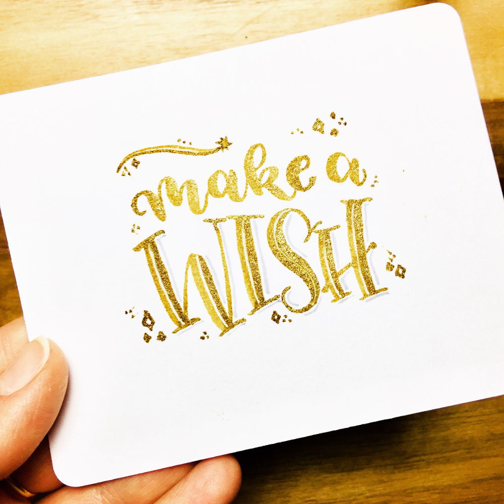make a wish - Brushlettering in gold