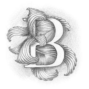 Tangle-Monogramm B - Ludmila Blum (Bunte Galerie)