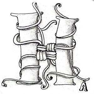 Tangle-Monogramm H - Anya Ipsen (Sutsche Tangeleien)