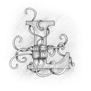 Tangle-Monogramm L - Ludmila Blum (Bunte Galerie)