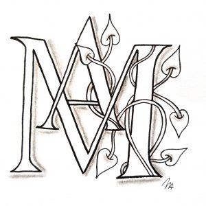 Tangle Monogramm MA - Michaela Aden (Die Kartenzauberin)