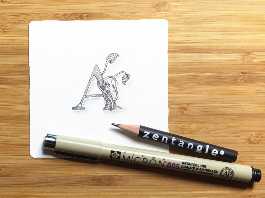 Tutorial: Zentangle® Monogramm (mit Freebie)