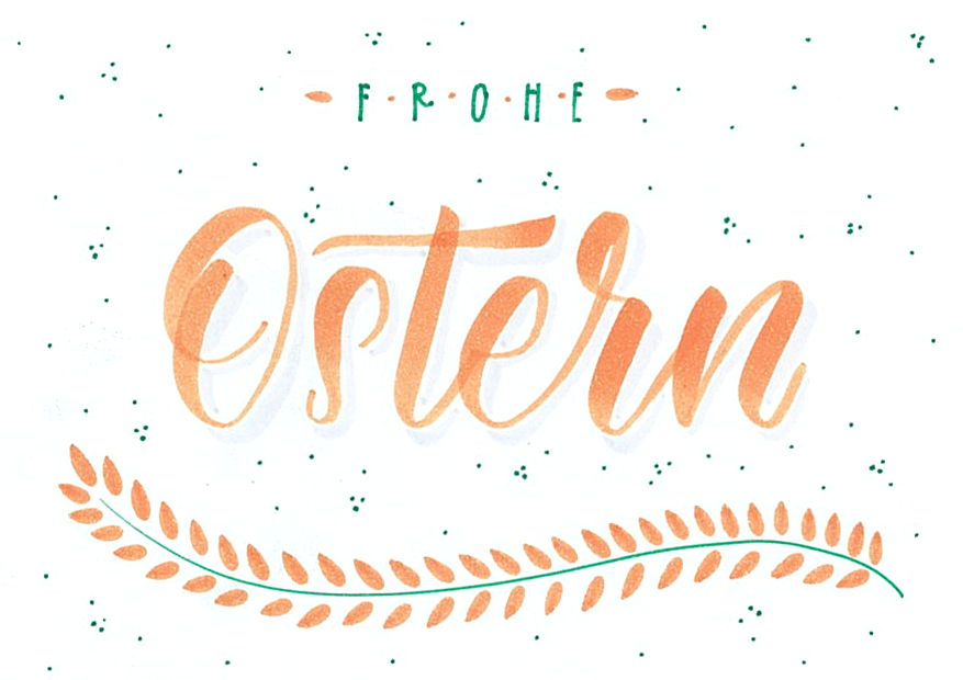 Frohe Ostern Handlettering Postkarte 1