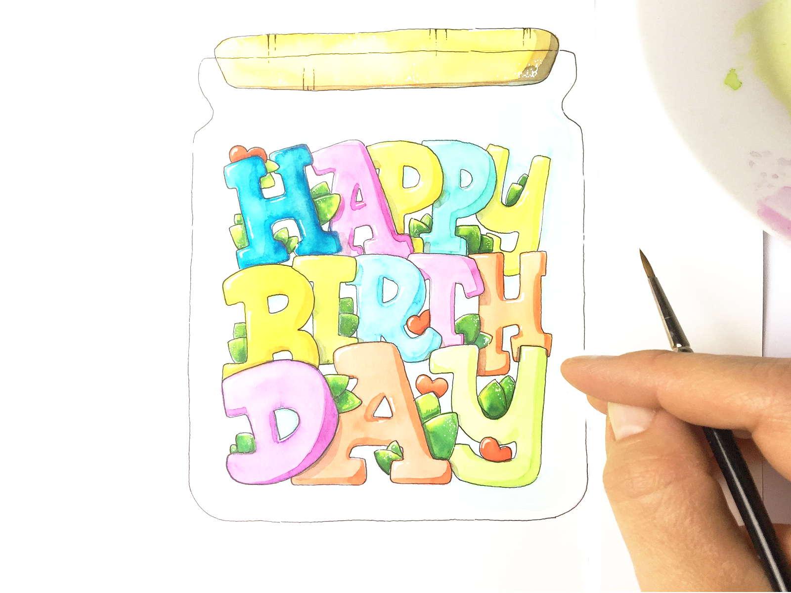 Happy Birthday im Einmachglas - Ausmalbild / Geburtstagskarte   Bunte Galerie