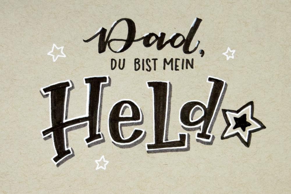 Handlettering zum Vatertag: Das, du bist mein Held | Bunte Galerie - Ludmila Blum