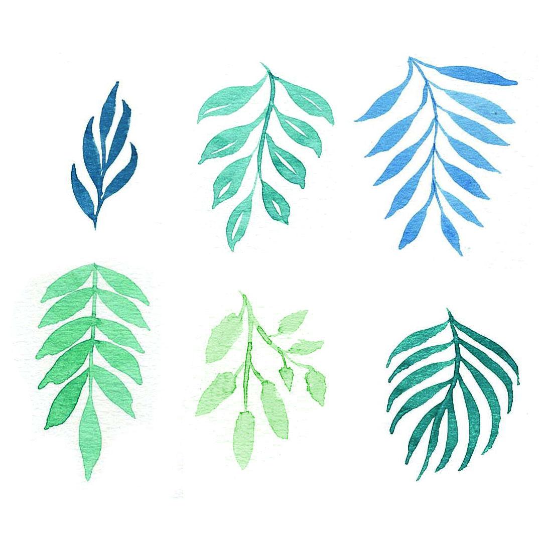 Aquarell-Blätter-Tutorial Bunte Galerie