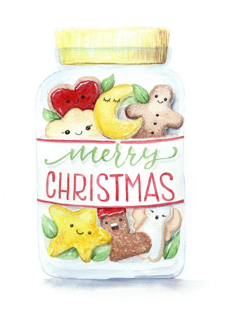 "Keksglas ""merry Christmas"" Handlettering Aquarell"