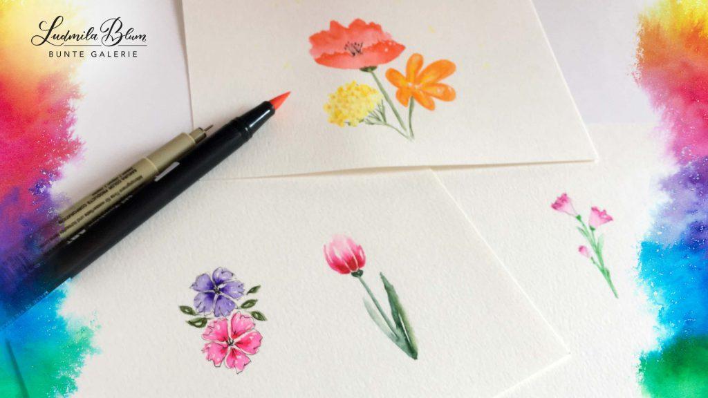 Aquarellblumen mit Fineliner-Rand, gemalt mit Brushpens und Wasser.