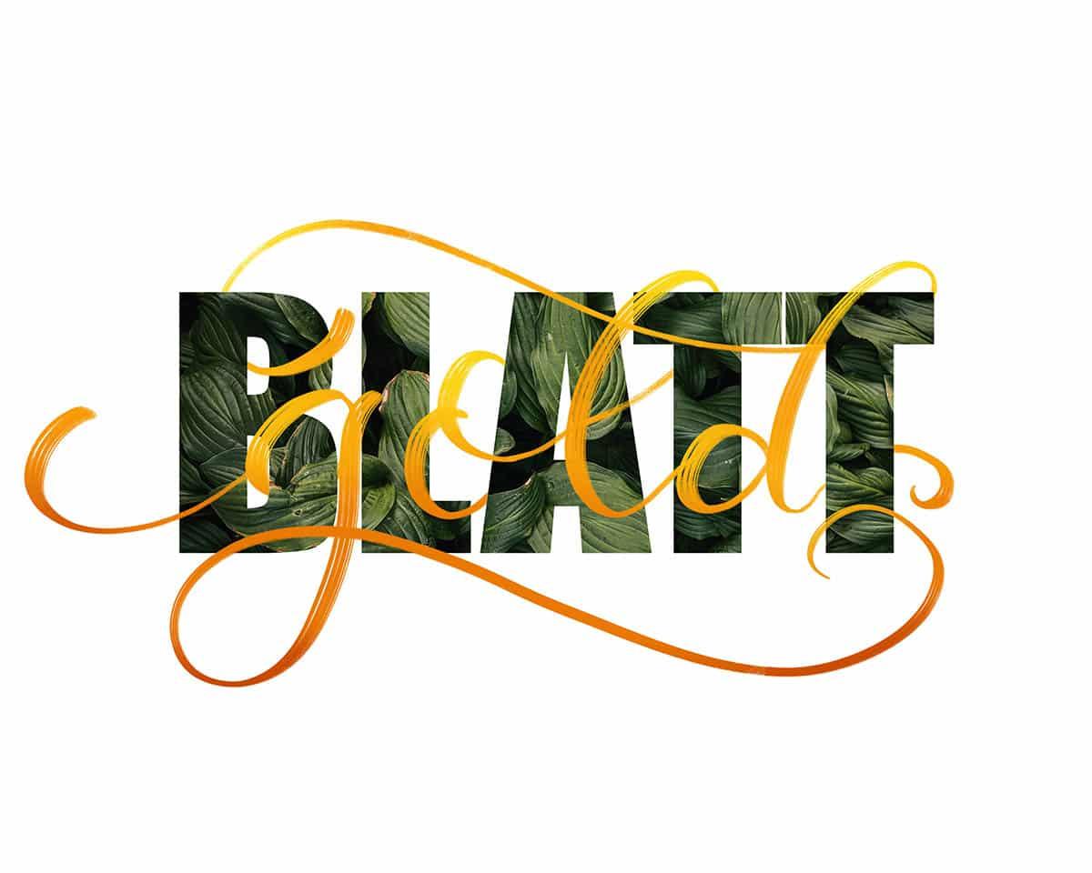 Procreate Lettering mit Brushscript und texturierten Großbuchstaben