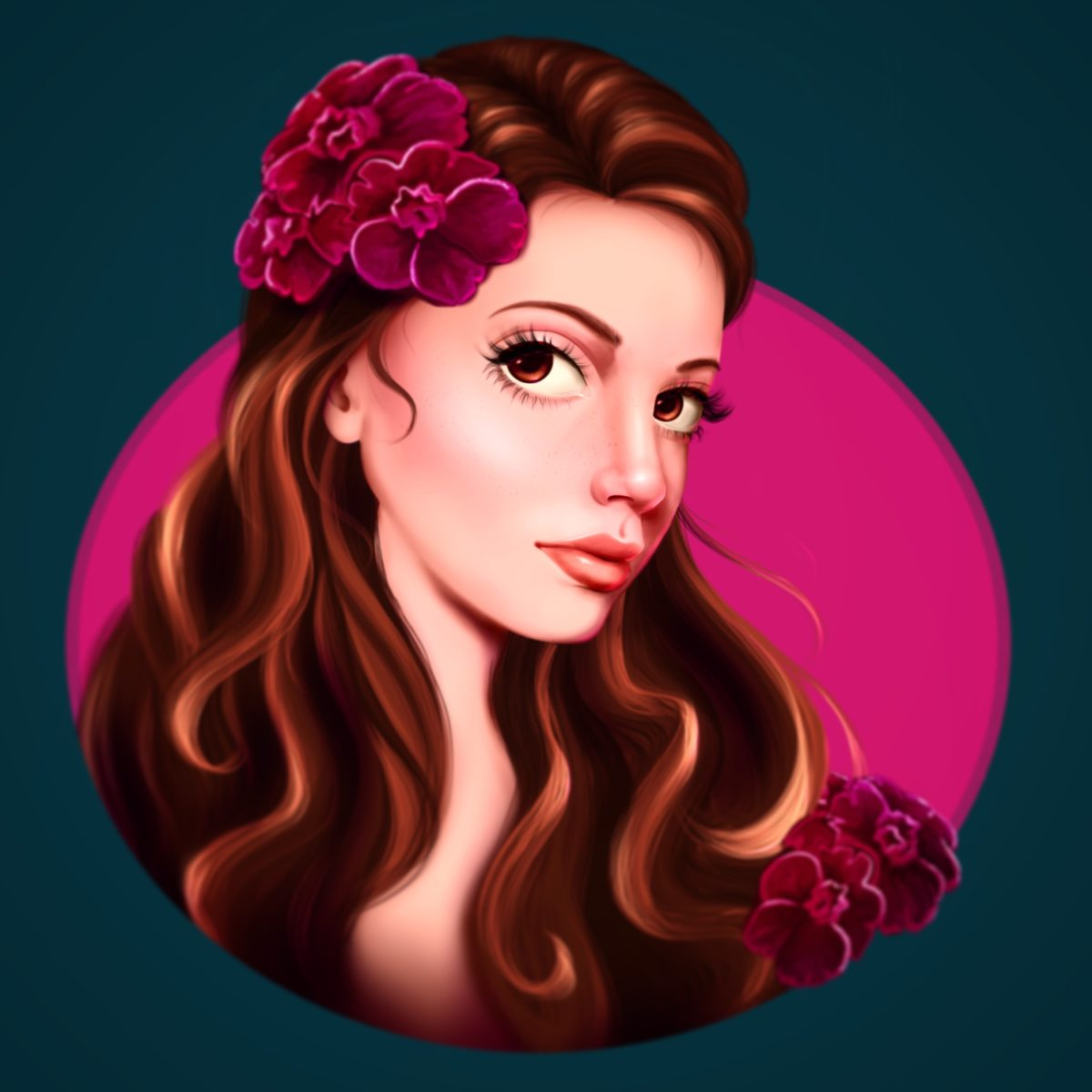 Female character design - semi-realistic portrait of a beautiful woman with flowers