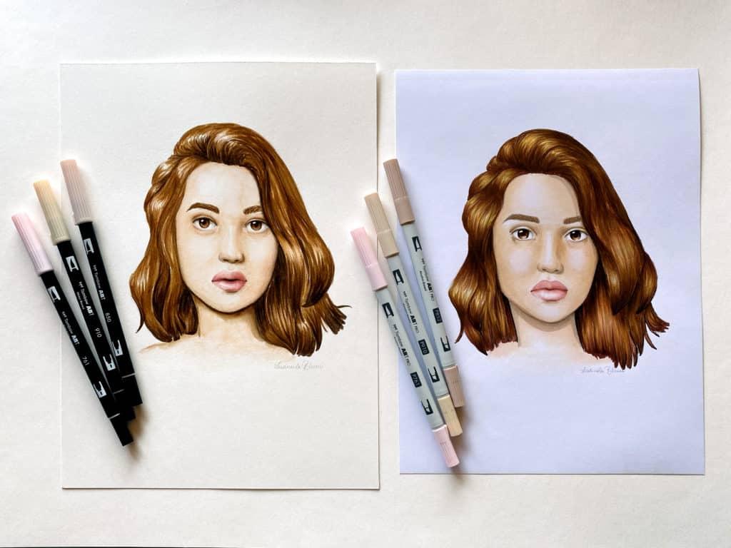 Mein Tutorial zum Kolorieren von Portraits findest du bei Tombow