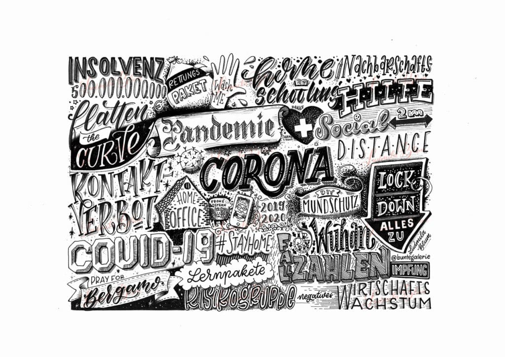 Corona Lettering Schlagworte Wimmelbild