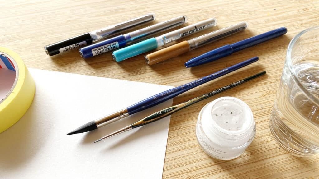 Material für den Aquarell Effekt mit Brushpens