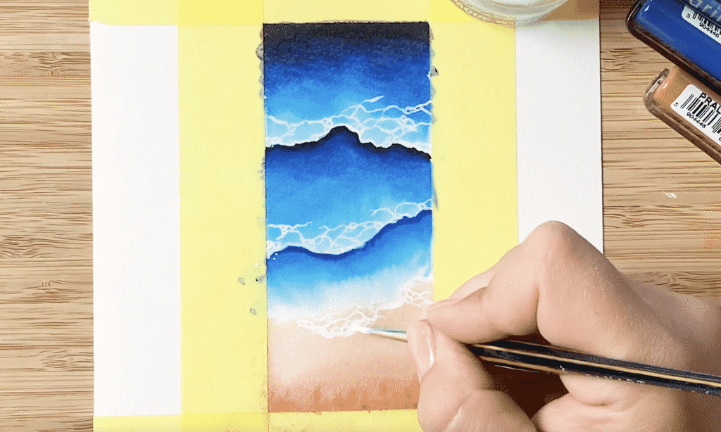 Schaum auf die Wellen malen