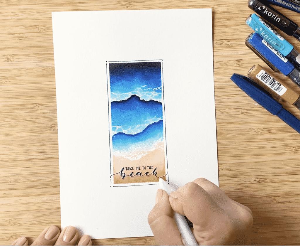 Lettering auf das Aquarell malen - mit feinerem Brushpen