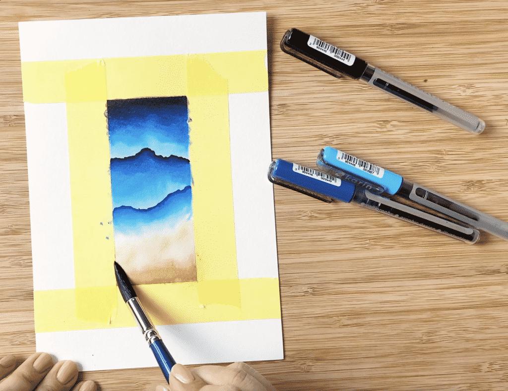 Wellen und Sand geben das Aquarell mit Brushpens